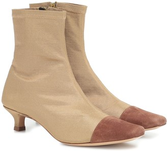 BY FAR Karl suede-trimmed ankle boots