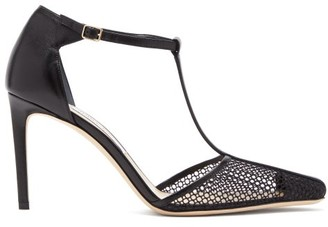 Jimmy Choo Batu 85 Leather And Mesh Sandals - Black