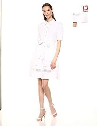 Calvin Klein Women's Three Quarter Sleeve A Line Shirt Dress with Self Belt