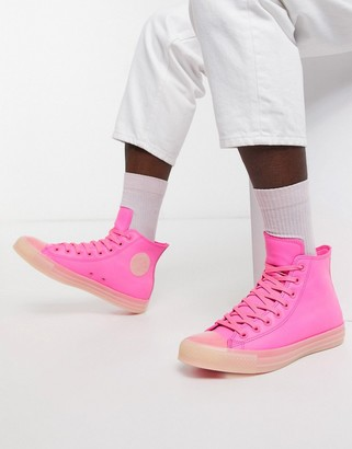 Converse Chuck Taylor leather sneakers in neon pink