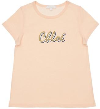 Chloé Logo Print Cotton Jersey T-shirt