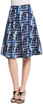 Oscar de la Renta Watercolor Plaid Pleated A-Line Skirt, Marine Blue