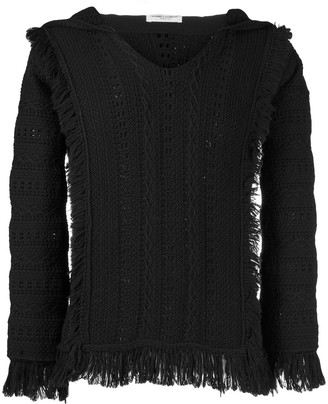 Saint Laurent Fringe Trim Knitted Hoodie