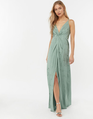 Monsoon Karlie Knot Front Jacquard Dress Green