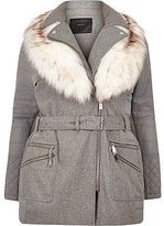 River Island Womens Plus light grey padded faux fur coat