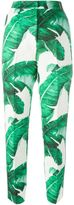 Dolce & Gabbana banana leaf brocade trousers - women - Silk/Cotton - 40