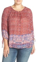 Lucky Brand Plus Size Women's Tapestry Print Peasant Top