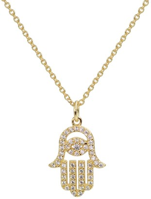 Kamaria Hamsa Crystal Necklace Gold