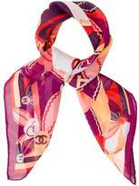 Chanel Floral Silk Mousseline Scarf