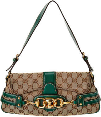 Gucci Brown Gg Canvas & Green Leather Horsebit Shoulder Bag