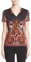 Versace Women's Baroque Print V-Neck Tee