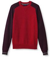 Lands' End Men's Lambswool Colorblock Crewneck Sweater-Dark Blue Lilac