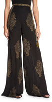 Haute Hippie Fernweh Silk Paisley Wide-Leg Pants, Black