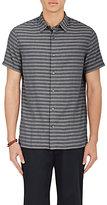 Vince Men's Striped Short-Sleeve Shirt-GREY