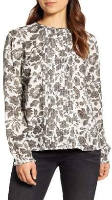 Lucky Brand Lea Floral Pintuck Long Sleeve Blouse