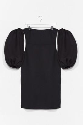 Nasty Gal Womens Coming Balloon Sleeve Midi Dress - Black