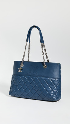 Shopbop Archive Chanel Quilted Navy Chain Tote Lambskin