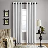 "Veratex Gotham Collection Contemporary Style 100% Linen Bedroom Grommet Fastener Style Curtain, 84"" Long, Optical White"