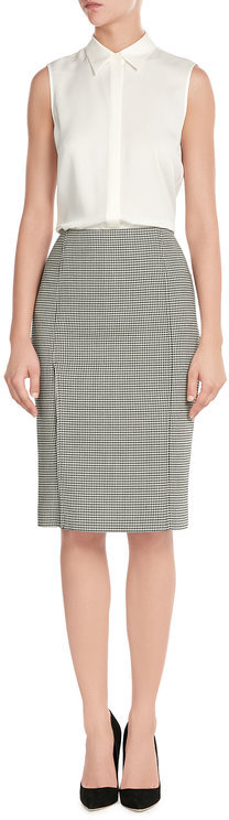 Ralph Lauren Black Label Printed Wool Pencil Skirt