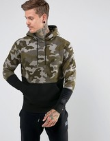 New Balance Essentials Camo Pull Over Hoodie In Green Mt73529_ucp