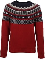 Moncler Red Fair Isle Knit Sweater