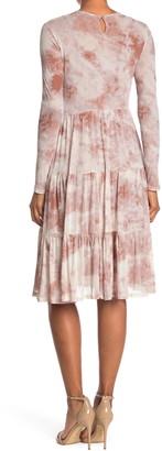 Spirit Of Grace Long Sleeve Mesh Tiered Midi Dress