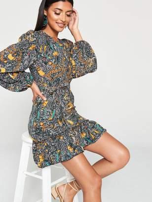 AX Paris Paisley Printed Frill Hem Dress - Multi