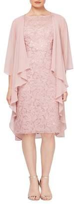 SLNY Embroidered Sequin Lace Midi 2-Piece Cape & Dress Set