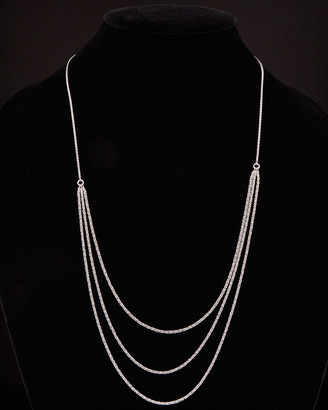 Italian Silver Layered Sparkle Adjustable Necklace