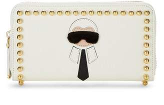 Fendi White Leather Karlito Zip Wallet