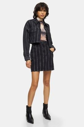 Topshop Studded Black Denim High Waist Skirt