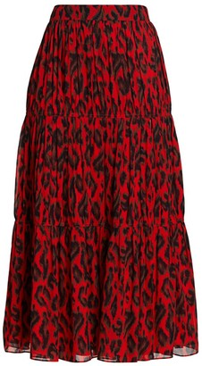 Derek Lam 10 Crosby Qualley Abstract Leopard Skirt