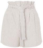 Petite stripe belted shorts