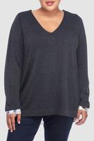 NYDJ Mixed Media V Neck Sweater In Plus