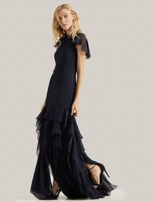 Halston Flounce Georgette Gown