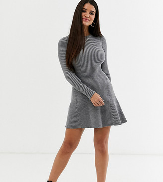 Fashion Union Petite knitted long sleeved skater dress