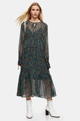 Topshop Womens Ditsy Chuck On Chiffon Midi Dress - Multi