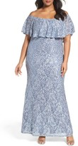 Marina Plus Size Women's Off The Shoulder Ruffle Sequin Lace Gown