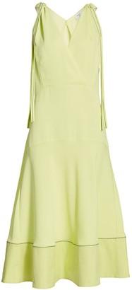Proenza Schouler White Label Tie-Shoulder Plunging Midi Dress