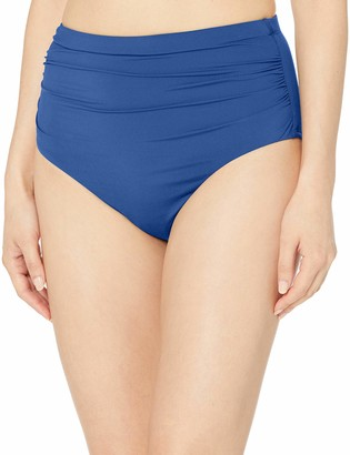 Chaps Women's Plus Size Core Solids Shirred High Waisted Pant Bikini Bottom