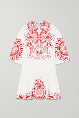 RED Valentino Embroidered Cotton-poplin Mini Dress - White