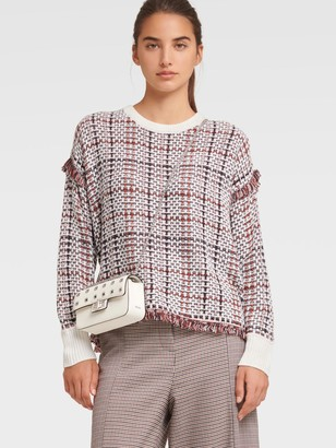 DKNY Women's Plaid Woven Sweater - Ivory/Russet - Size XX-Small