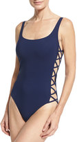 Tory Burch Lace-Up Side One-Piece Swimsuit, Navy