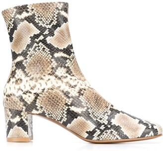 BY FAR Snakeskin-Effect Zip-Up Ankle Boots
