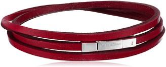 Tateossian Fettuccini Silver Red Large Triple Wrap Bracelet