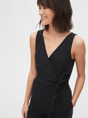 Gap Sleeveless Wrap-Front Jumpsuit in Linen-Cotton