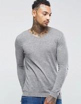 Asos Muscle Fit V Neck Jumper In Light Grey Cotton