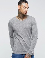 Asos Muscle Fit V Neck Sweater in Light Gray Cotton
