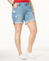 Lucky Brand Trendy Plus Size Georgia Star-Detail Denim Shorts