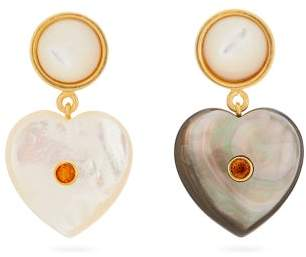 Lizzie Fortunato Forevermore Mismatched Heart Shape Earrings - Womens - Blue